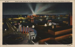 Night View Showing Hall of Science and Northerly Island, Chicago World's Fair