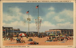 View of Central Mall from Beach, Jones Beach - Long Island State Parks Series