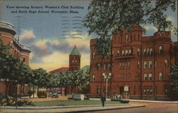 View Showing Armory, Women's Club Building and North High School