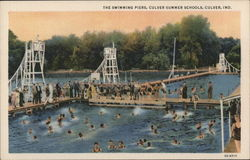The Swimming Piers, Culver Summer Schools Postcard