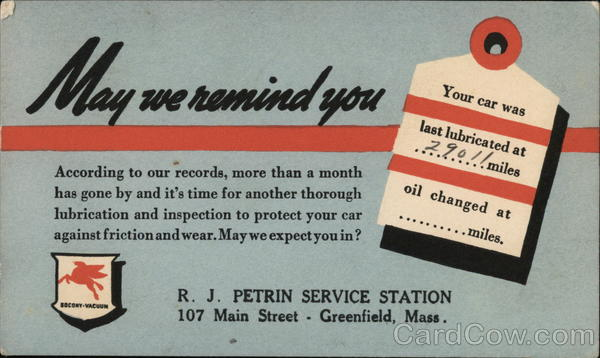 May we remind you - R.J. Petrin Mobil Oil Greenfield Massachusetts