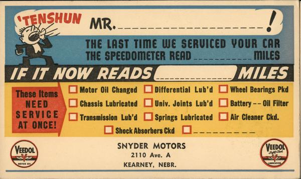 Snyder Motors servicing reminder Kearney Nebraska Advertising