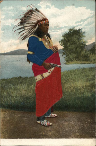 Native American man with headdress and gun Native Americana