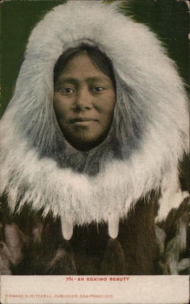 Closeup of Face Framed by Thick White Fur Native Americana