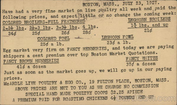 Boston, Mass., July 23, 1927 ~ Details About Live Poultry for Sale