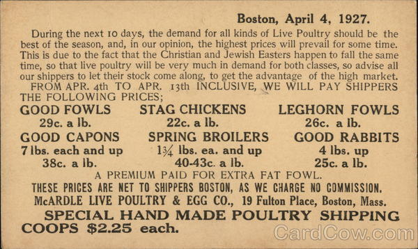Print Ad - Boston, April 4, 1927 Advertising
