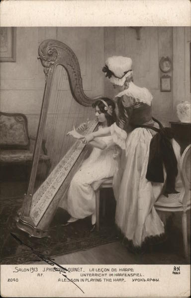A lesson in playing the harp Music