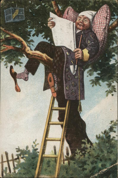 Man in Treetop with Newspaper and Pipe Comic, Funny