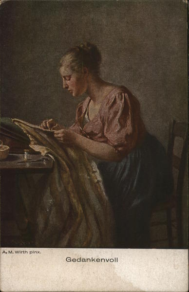 Thoughtful - Woman sewing at table Women