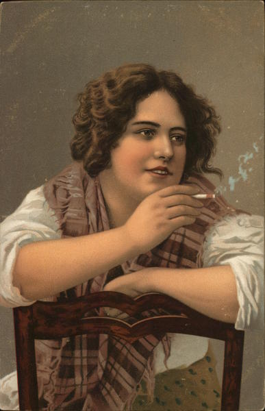 Woman Seated on Backward Chair, Smoking a Cigarette
