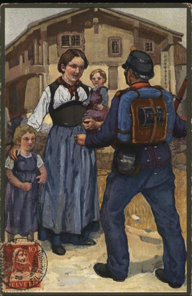 Soldier Greeting Woman with Two Children Military