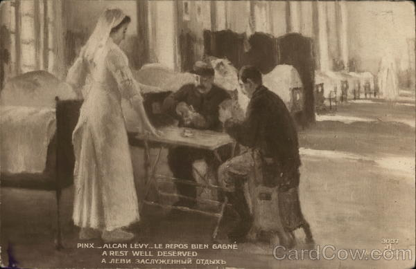 Nurse Standing Near Two Soldiers Playing Cards Military