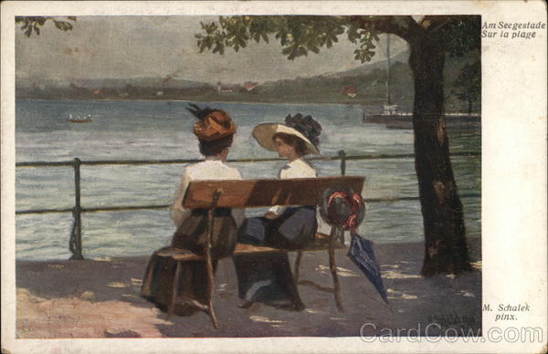 Two Ladies on Bench Near Water's Edge Women