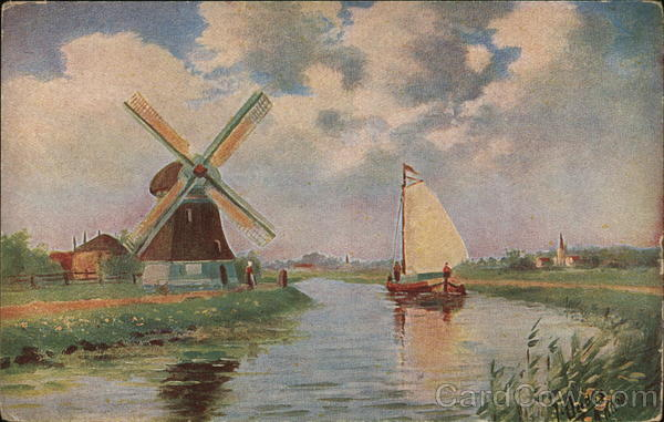 Boat Sails Along Canal Beside Windmill Windmills