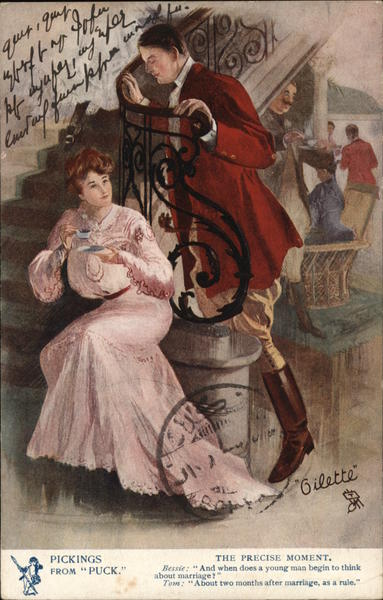 Man Leaning Against Railing Above Seated Woman Romance & Love