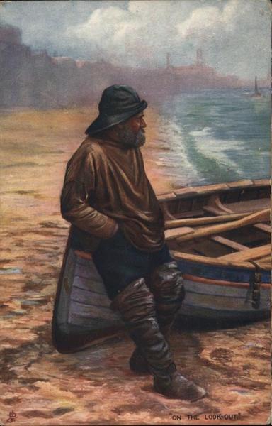 Man Leaning Against Rowboat on Shoreline Canoes & Rowboats