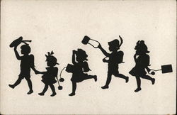 Silhouettes of Five Children Walking in a Line