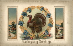 Turkey Within Wreath With Country Scenes On Each Side Postcard