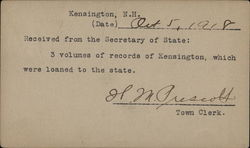 Typed Correspondence from Kensington, N. H.
