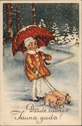Art Deco Happy New Year! (Latvia) Girl with Pigs