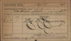 Registry Bill from Post Office Department at Wardner, Idaho