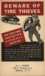 Beware of Tire Thieves - Man in Striped Shirt Stealing Tire Postcard