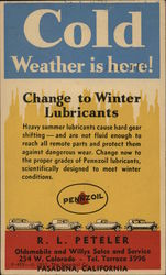 Pennzoil Ad: Cole Weather is Here! Change to Winter Lubricants