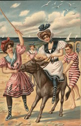 Girls at the beach with a horse