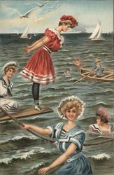 Women playing in the sea