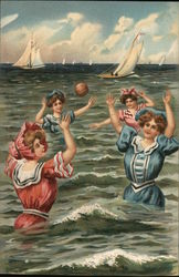 Women Playing with Ball in Water with Boats in Background