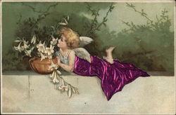 Blond Angel Wrapped in Purple Near Flowers on Ledge