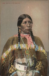 Native American Woman with Braided Hair Wearing Colorful Outfit