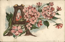 The letter A with flowers