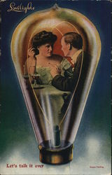 Man and Woman Sitting Close, Talking, Inside Light Bulb
