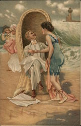 Woman Wearing Swimsuit with Man in Chair on Beach