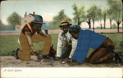 Three Men Playing a Game on Dirt Ground