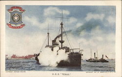 "Battle Ship in Water Near Harbor - U. S. S. ""Texas"""