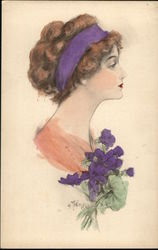Illustration of Woman's Profile with Purple Flower & Ribbon