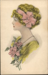 Illustration of Woman with Bow in Hair