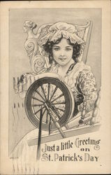 Young Woman at Spinning Wheel Near Harp