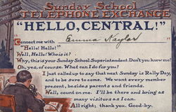 Sunday School Telephone Exchange - Rally Day Notification Card
