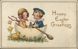 Young Boy and Girl Inside Eggshell - Happy Easter Greetings