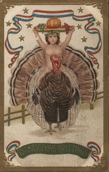 Nude Woman Riding Turkey Carrying Tray of Food Overhead