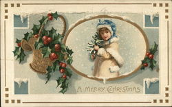 Young Girl in Snow, Holly, A Merry Christmas