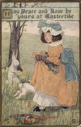 Girl in Field Near Tree with White Rabbits