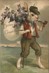 Bunny Dressed as Person, Smoking Pipe, Walking with Cane
