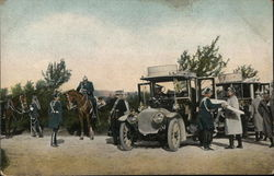 Soldiers Talking Near Cars, Horses