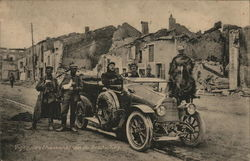 Soldiers in and Near Automobile, One on Horseback Near Ruins