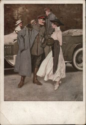 German Soldiers Talking to Ladies Near Car