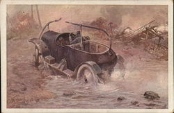 German Car Driving Through Water and Debris